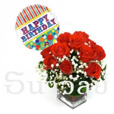 12 Red roses with Balloon Bday (include glass vase)
