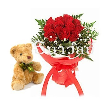 12 red roses with teddy bear