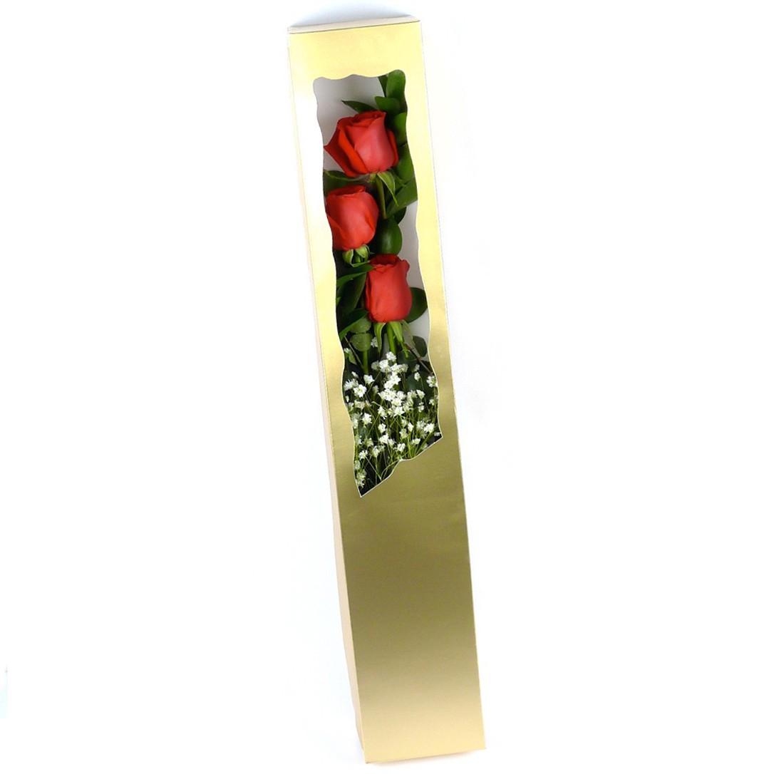 Box of 3 premium red roses กล่องกุหลาบแดง 3 ดอก
