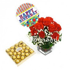 12 Red roses with Anagram Balloon Birthday and Box of Ferrero Rocher Fine Hazelnut Chocolate 300g (include glass vase)