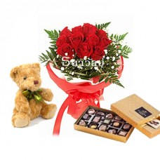 Bouquet of 12 short stemmed red roses with teddy bear and Godiva Gold discovery chocolate gift box 15 pcs.