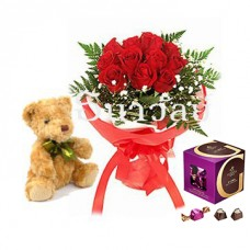 Bouquet of 12 short stemmed red roses with teddy bear and Godiva Classic Dark Chocolate G Cube Box, 22 pcs.