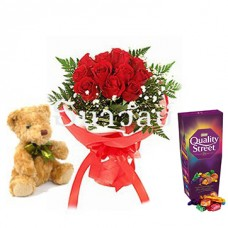 Bouquet of 12 short stemmed red roses with teddy bear with Quality Street Chocolate, Toffee and Cremes 240g