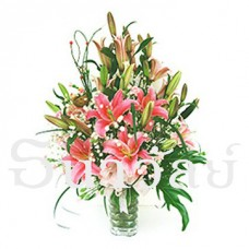 The pink oriental lily arrangement