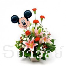 Baby birth arrangement with Mickey Mouse Balloon